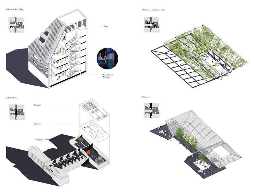 Set of four axonometric drawings of different parts of the proposal with exterior elements rendered, and showing each part either in section or whitout a roof or otherwise to show interiors and programs.