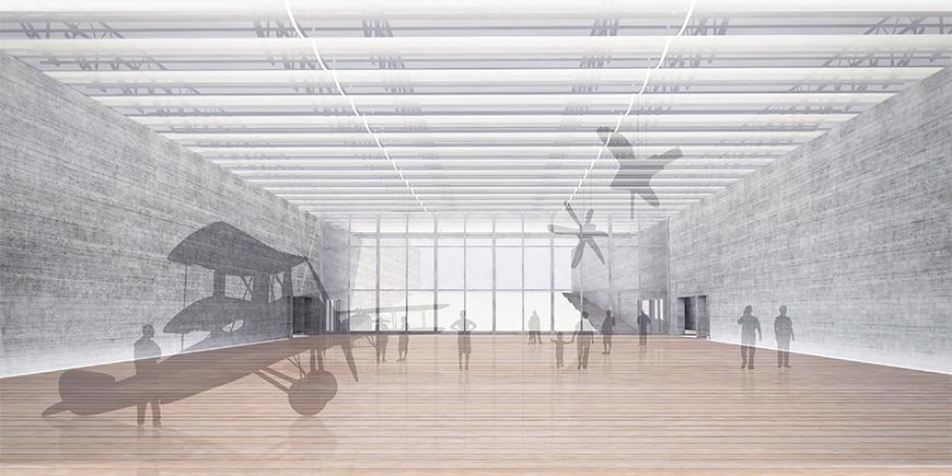 Render of interior looking down open exhibition space, showing shaders filtering in light from above, wooden floors, and textured concrete in the walls, with mullioned glass wall at the far ends and low-opacity figures of planes and human figures.