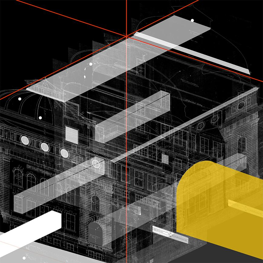 Composite axonometric drawing showing transparent prisms in white and yellow criss-crossing with ghosted drawings andimages of building facades and with a thin red line going down the center of the image.