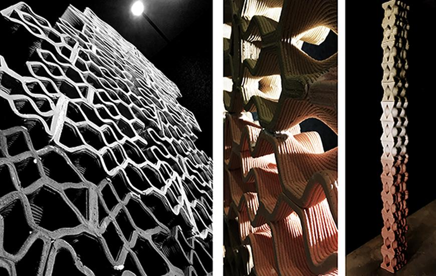 Photographs of the final clay block prototypes printed and assembled as walls and columns.