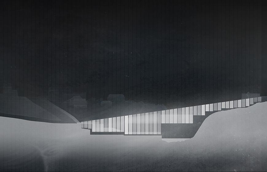 Collaged drawing of project in elevation set at night-time with various degrees of translucent white and gray tones representing the materiality and light qualities of the project.