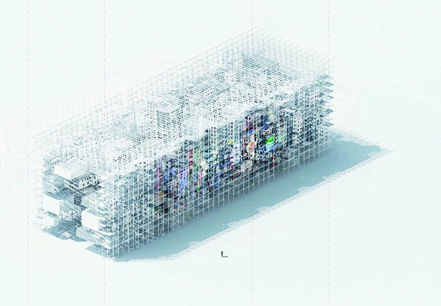 Axonometric visual made from a rendered model of the project with white textures, whowing colorful images on the facade.
