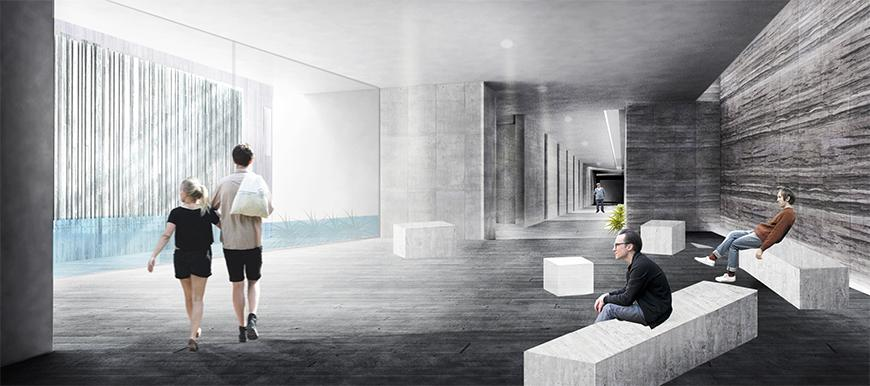 Interior render showing view into space with water and with horizontally striated stone walls.
