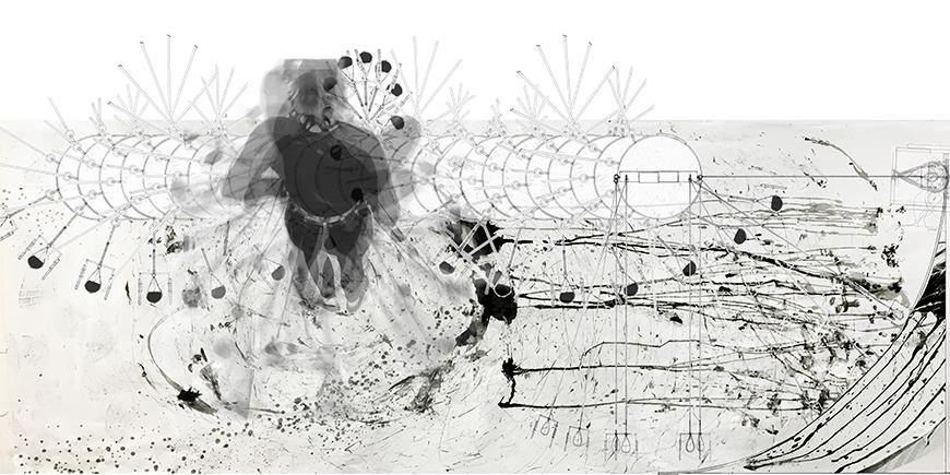 Collage of photograph of drawing generated by machine with charcoal and ink-blot markings, hand-drawings of drawing machine, and multiple exposure photograph of drawing performance.