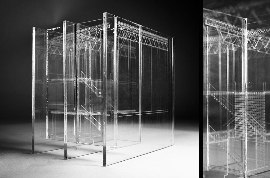 model made of interlocking panels of plexiglass with etched section drawings