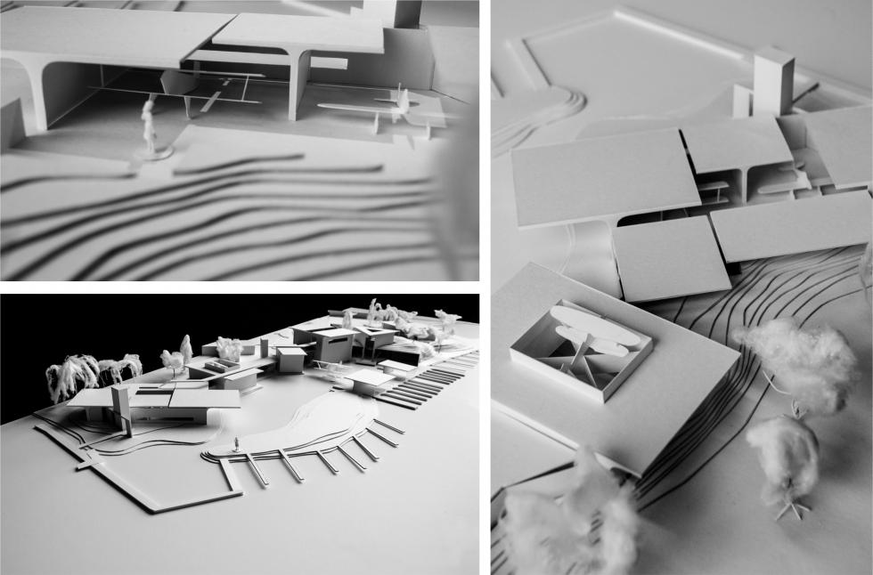 Three photographs of model details.
