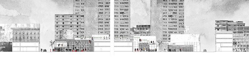 Section drawing with black and white photographs of buildings collaged as the background.