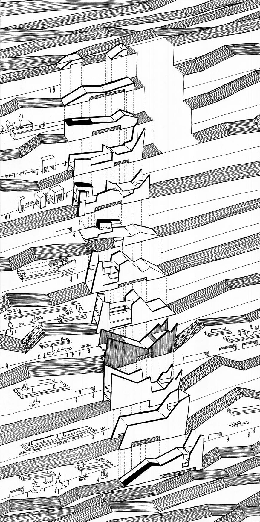 Exploded axonometric drawing in aerial perspective of the project, showing each of the bands, or layers individually,  drawn freehand with human scale figures and dense lines indicating texture or shading.