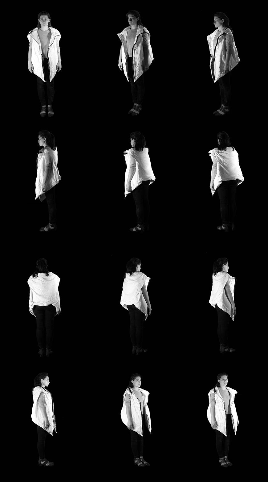 Composite photograph in black and white of person wearing the jacket in 12 different angles, showing 360 degree view of the jacket.