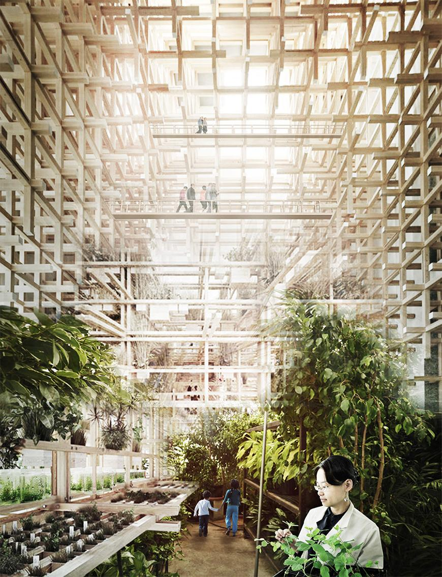 Interior render depicting some kind of botanical garden or greenhouse within wooden latticework structure with bridges and catwalks above populated by human figures.
