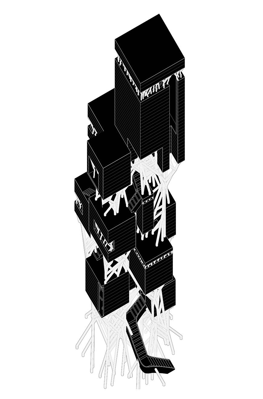 Axonometric drawing of vertical villa with outlined structure and solid black wall surfaces.