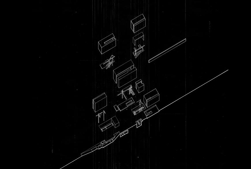 White-on-black exploded axonometric section drawing.