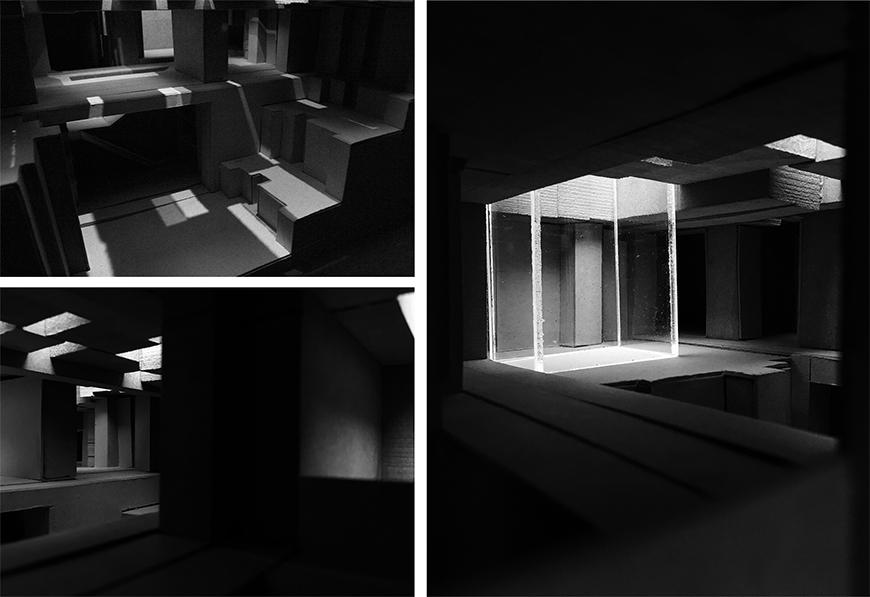 Photographs of interior of chipboard and plexiglass model simulating natural lighting conditions in the project.