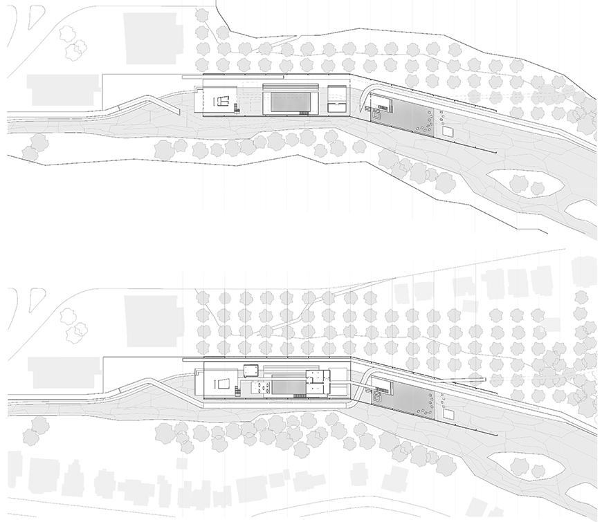 Computer-drawn plans showing project in site, with areas toned gray and light-gray.
