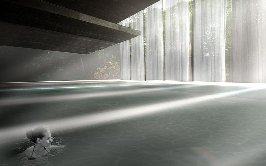 Render showing interior pool space with light filtering in from the top right of the image through white curtains.