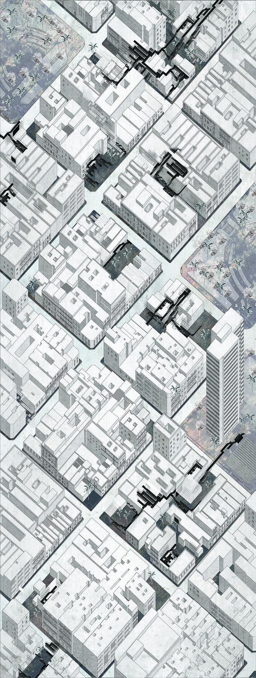 Axonometric drawing of downtown Havana diagramming spaces between buildings where the project could be implemented.
