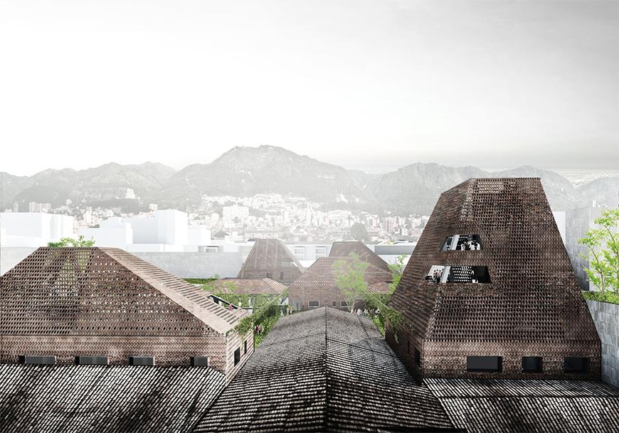 Exterior render from the point of view of the roofscape showing the proposed brick volumes rising out and melding with the topology of roofscapes on site with the mountains of Bogota in the background.