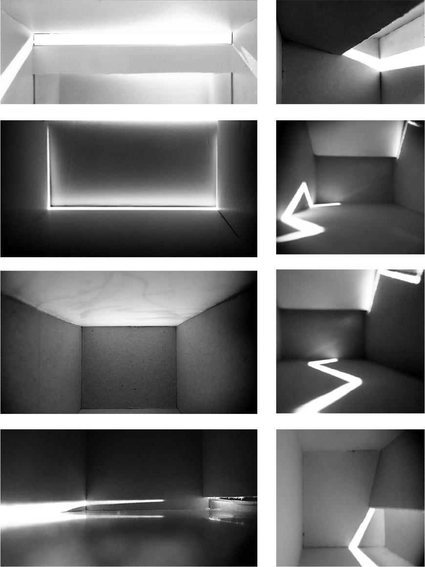 Set of eight black and white photographs of model showing lighting conditions of project from a first person point-of-view.