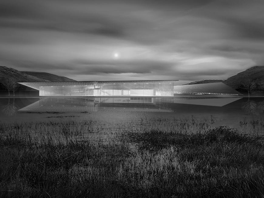 Black and white render of the exterior seen from across a body of water with cloudy skies.