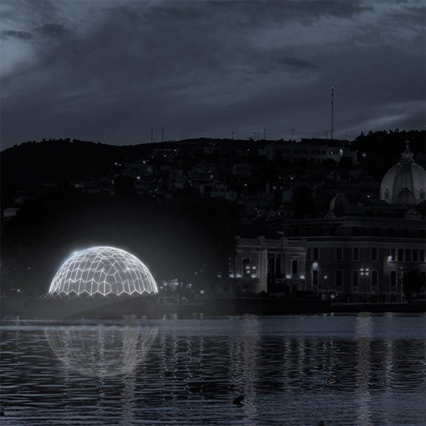 Render at night of city or town on a shoreline with a glowing white dome made of lighted lines near the water.
