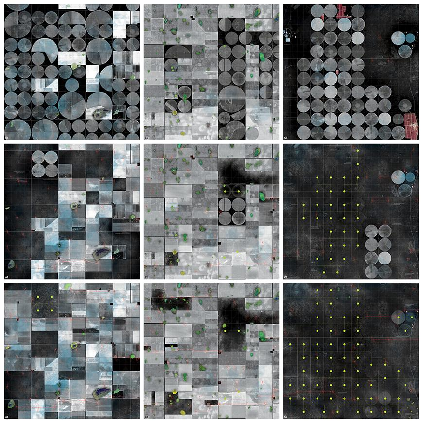 Nine photograph and render grid in a square grid showing existing field conditions from satellite imagery and their graudal change into proposed field conditions.