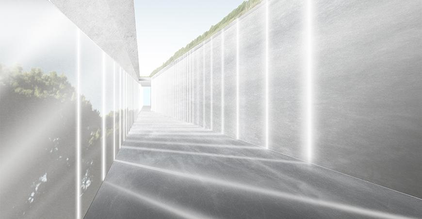 Render showing walkway with light filtering in through glass curtain-wall in slits projected onto opposite concrete or stone wall.