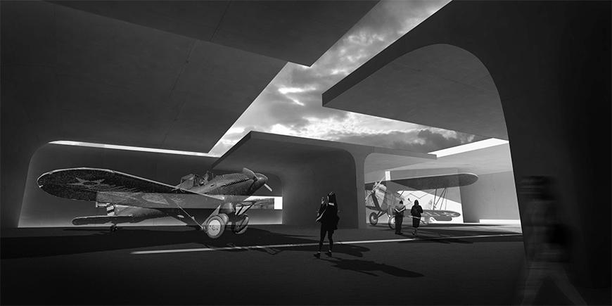 Black and white render of the project showing gallery spaces for the exhibition of aircraft with t-shaped structures providing shelter, but not completely enclosed.
