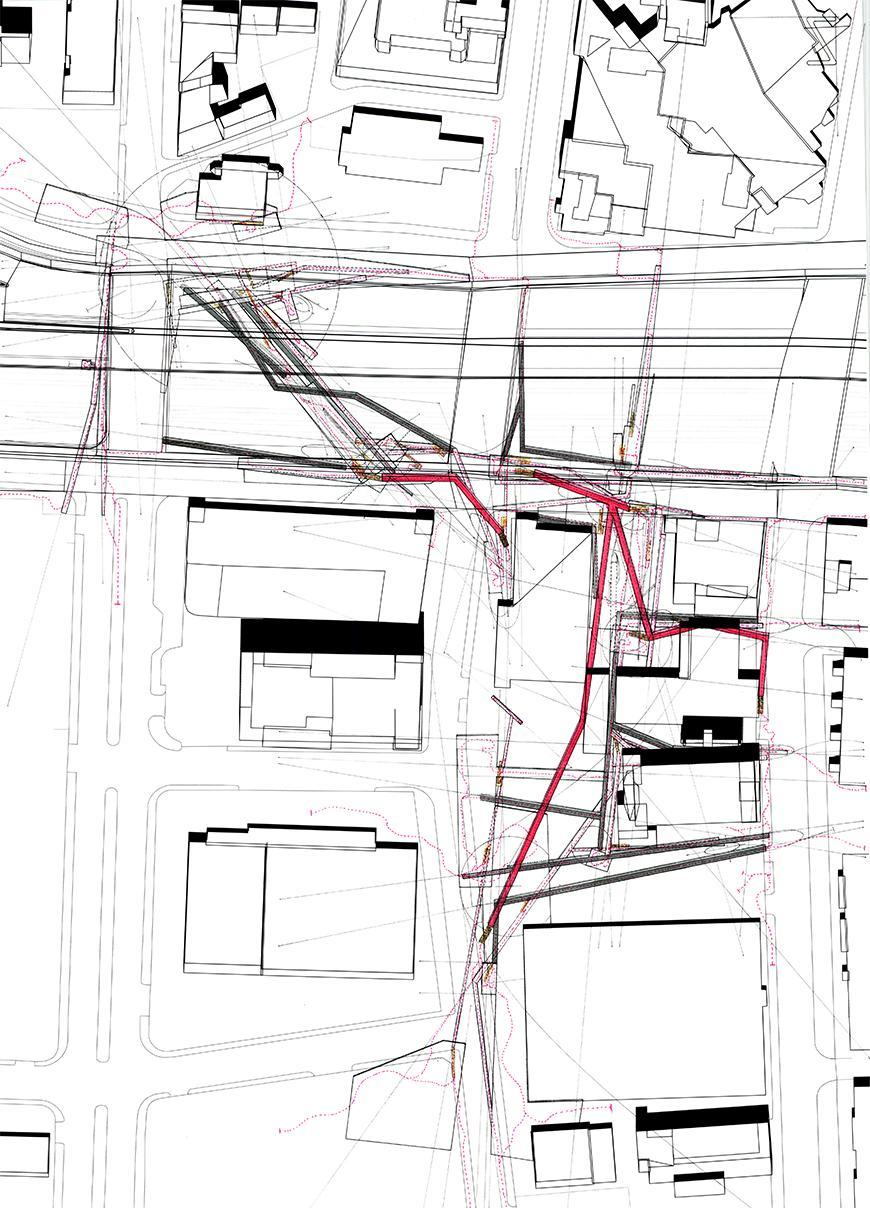 Plan drawing with thick gray and red lines