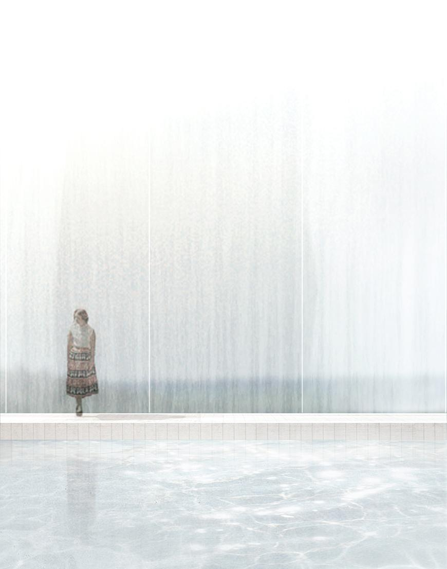 Render showing human figure standing on the side of a pool or water, with glass xurtain-wall behind them and landscape beyond.