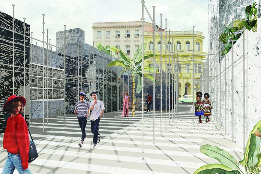 Rendering with collaged textures, vegetation, human figures, and background buildings showing gallery spaces on the ground floor of the project.
