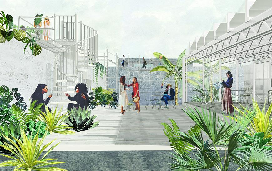 Rendering with collaged textures, vegetation, human figures, and background buildings showing spaces on the ground floor being used as public spaces, restaurants, and with stairs leading up to rooftops used for cultivation.