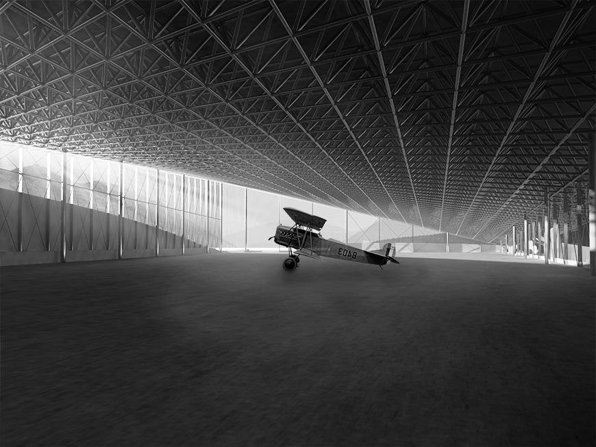 rendering of hangar-like museum space with aircraft on display