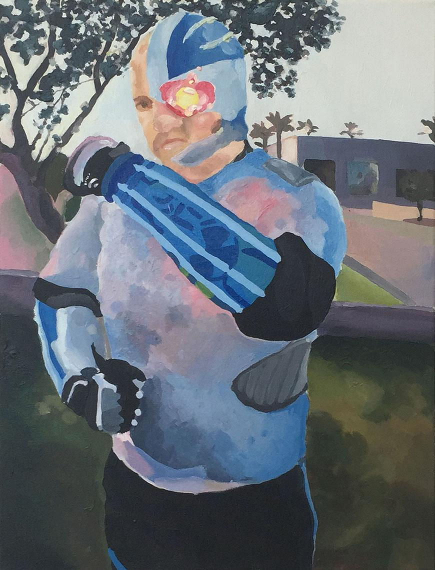 painting of a man with a blue and pink body suit standing outside wearing a cyborg helmet