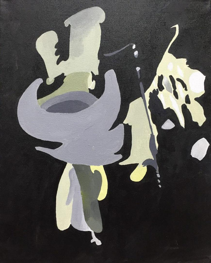 painting with a black background with violet, yellow, white, and grey colors in the middle