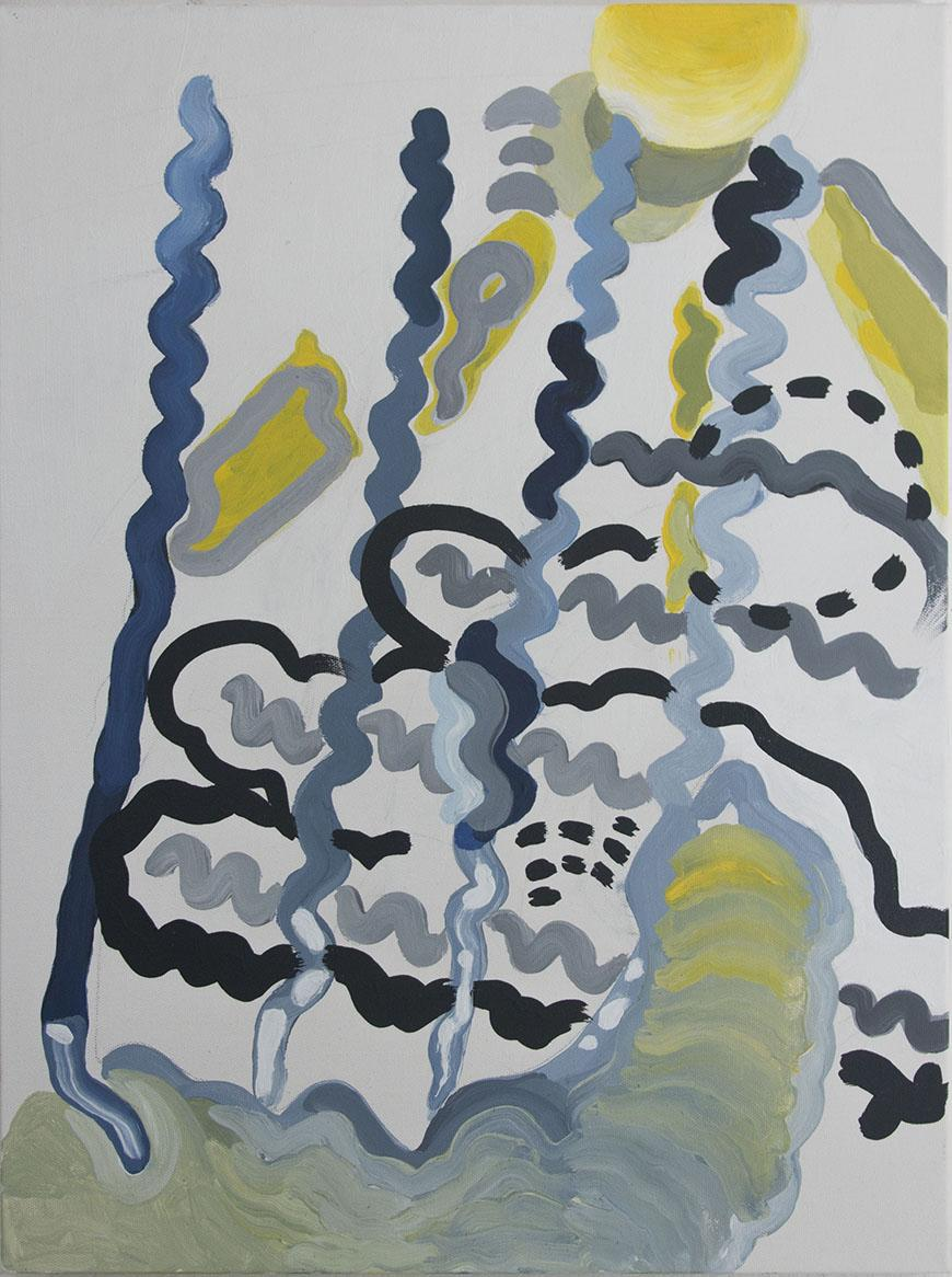 abstract painting of black, grey, and yellow squiggles and circles