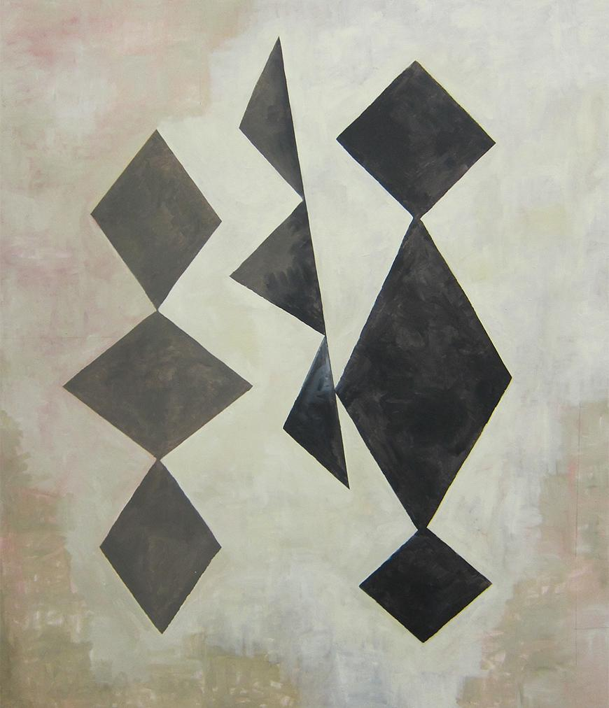 Tan and grey background with two faded shapes featuring three parallelograms connected, surrounding three triangles connected.