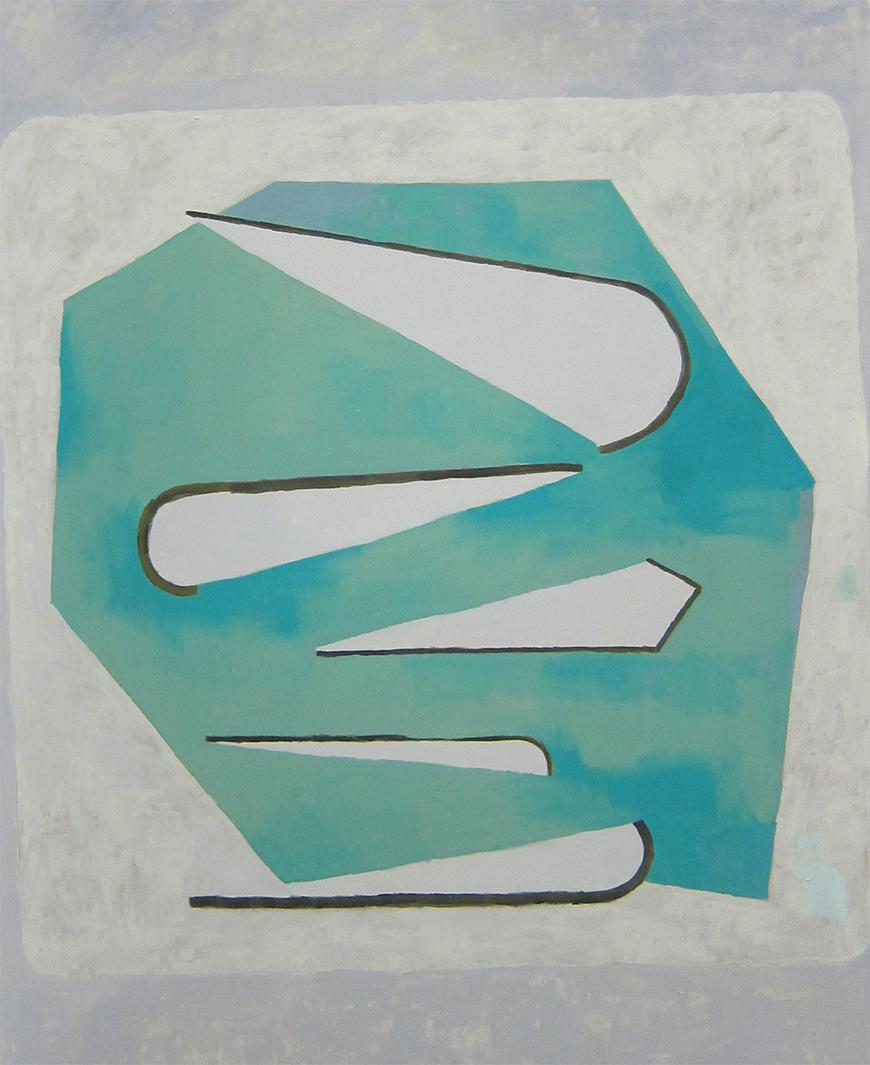 Painting with a grey background, creme square in the middle with a faded turquoise abstract shape with five white and black cone shapes in the middle.
