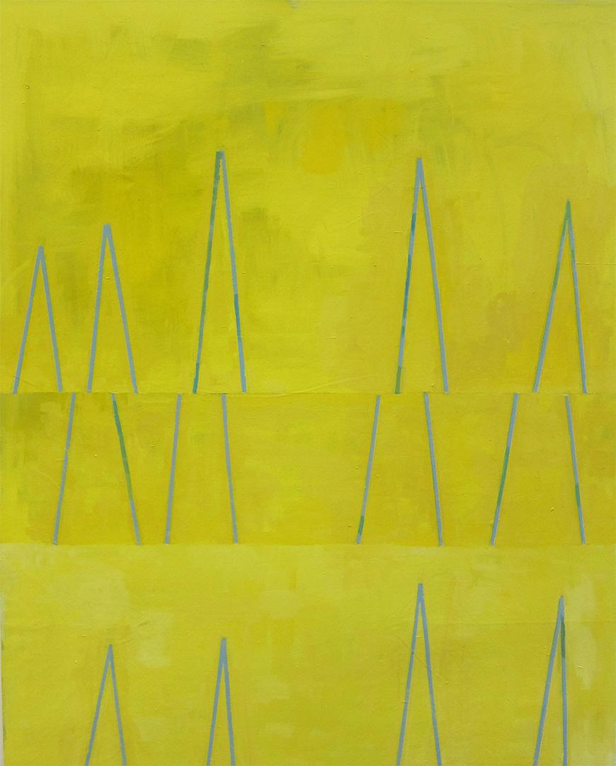 Painting of a yellow background with three rows of blue triangular shapes.
