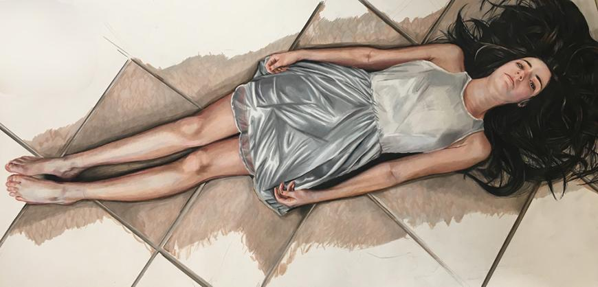 Drawing of a girl laying on the floor wearing a grey and white dress, with her hair flowing out.