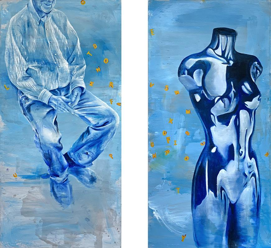 Two paintings side by side in blue hues, left painting features a man sitting down in long shirt and pants with face cropped out; right painting features a bust of a woman's torso with no arms.