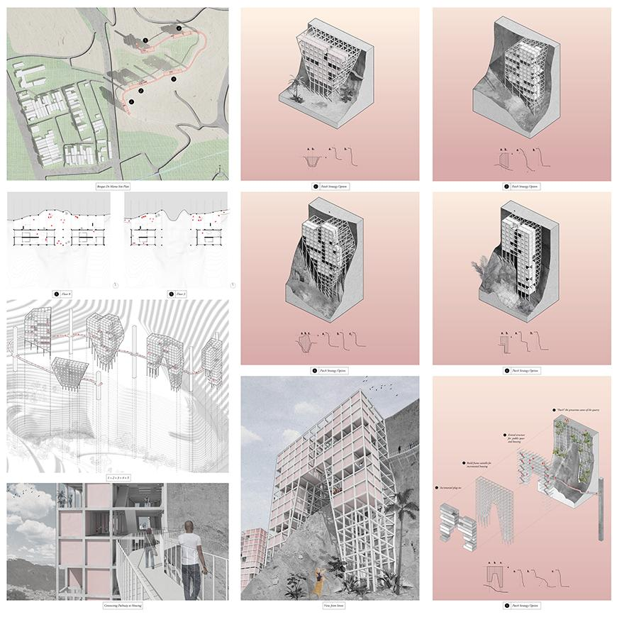 A series of square illustrations that show density housing proposal