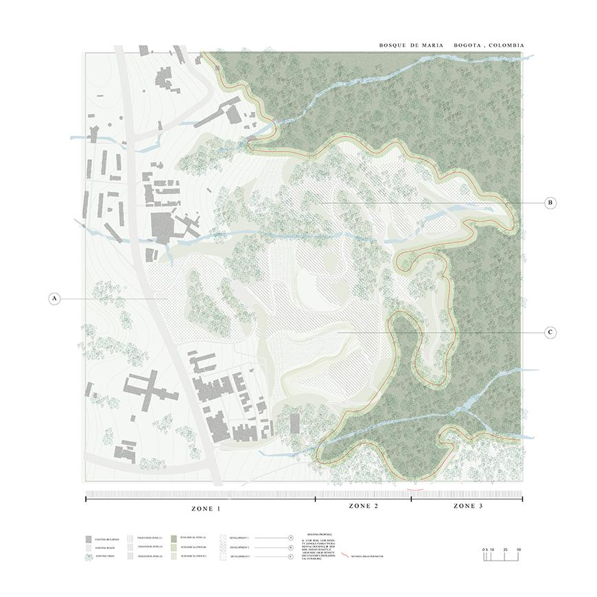 Site map shwoing buildings and forests