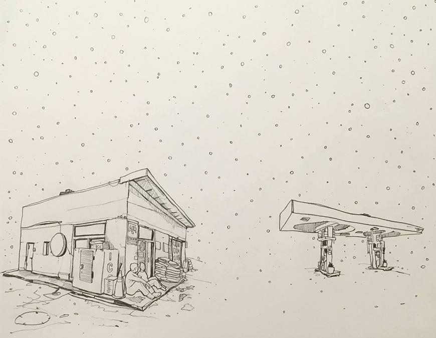 Drawing of a gas station with two people sitting outside in the snow.