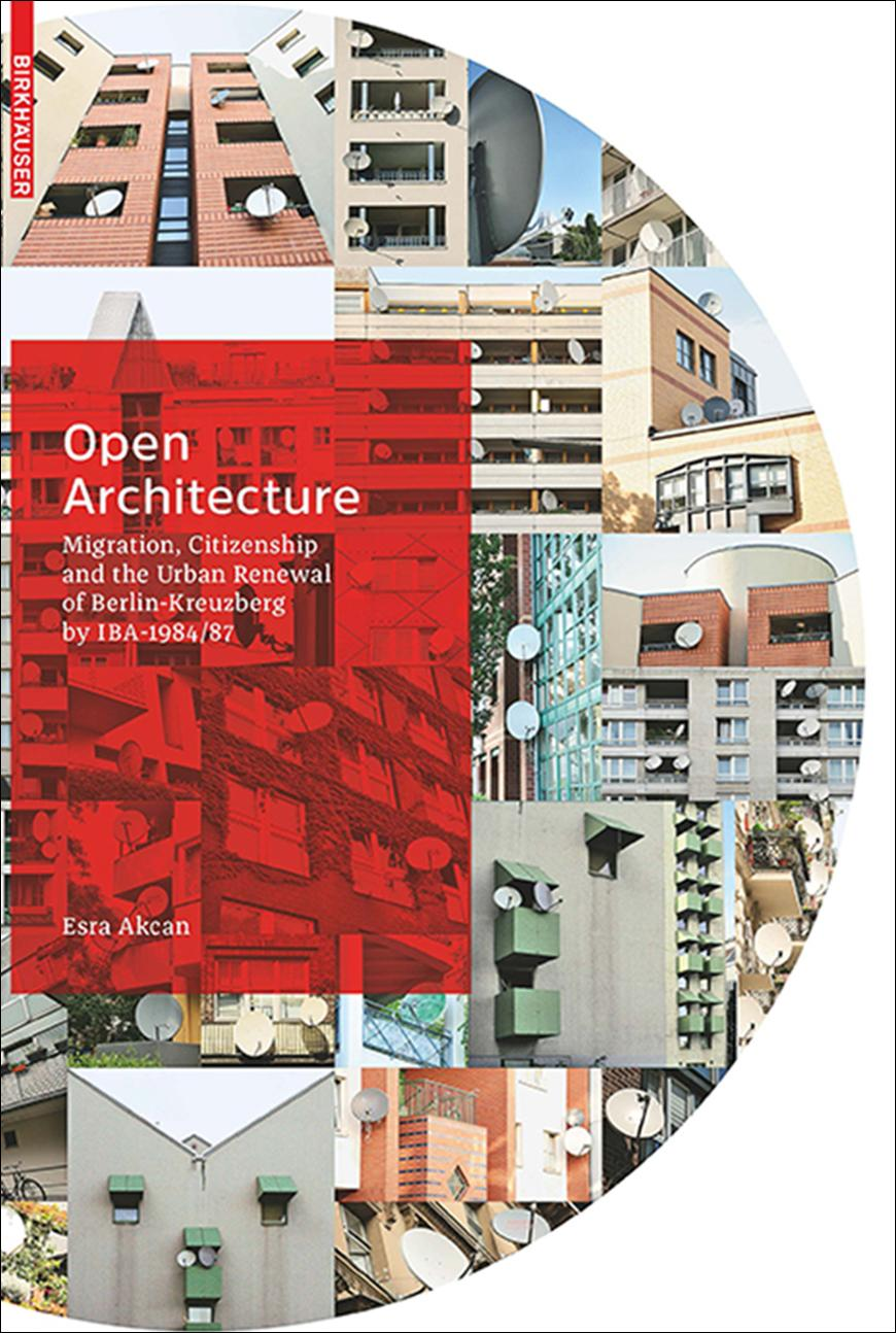 a colorful book cover with a red rectangle and text over a collage of city buildings