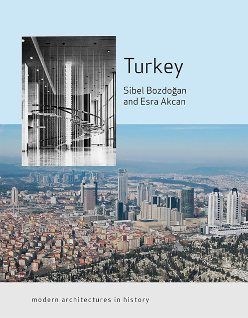 book cover with text over an aerial photo of a city with inset photo of a modern interior in black and white