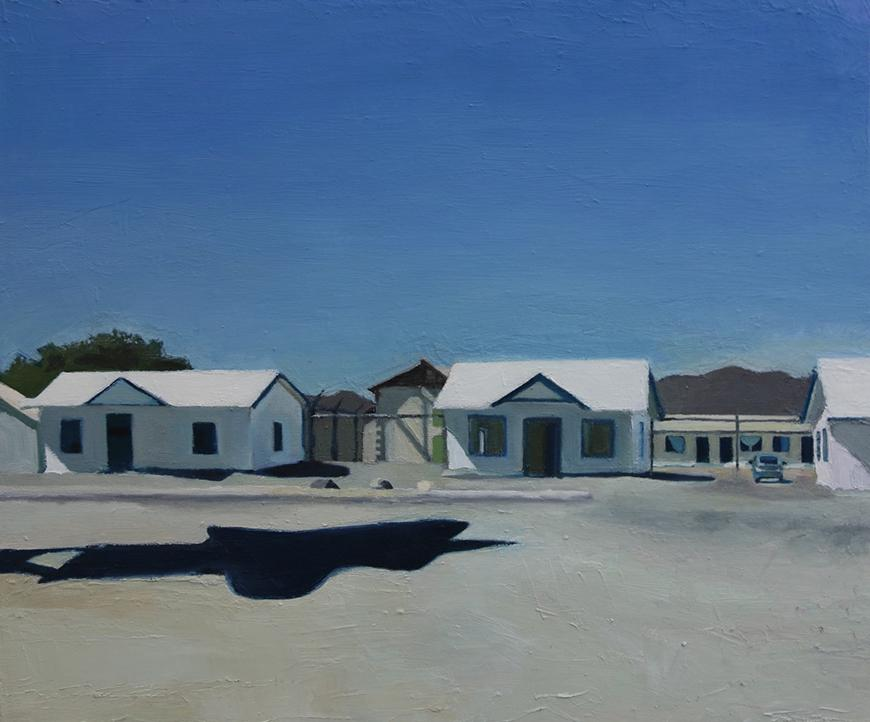 Painting of different small buildings on a road in white, blue, tan, gray, and green.