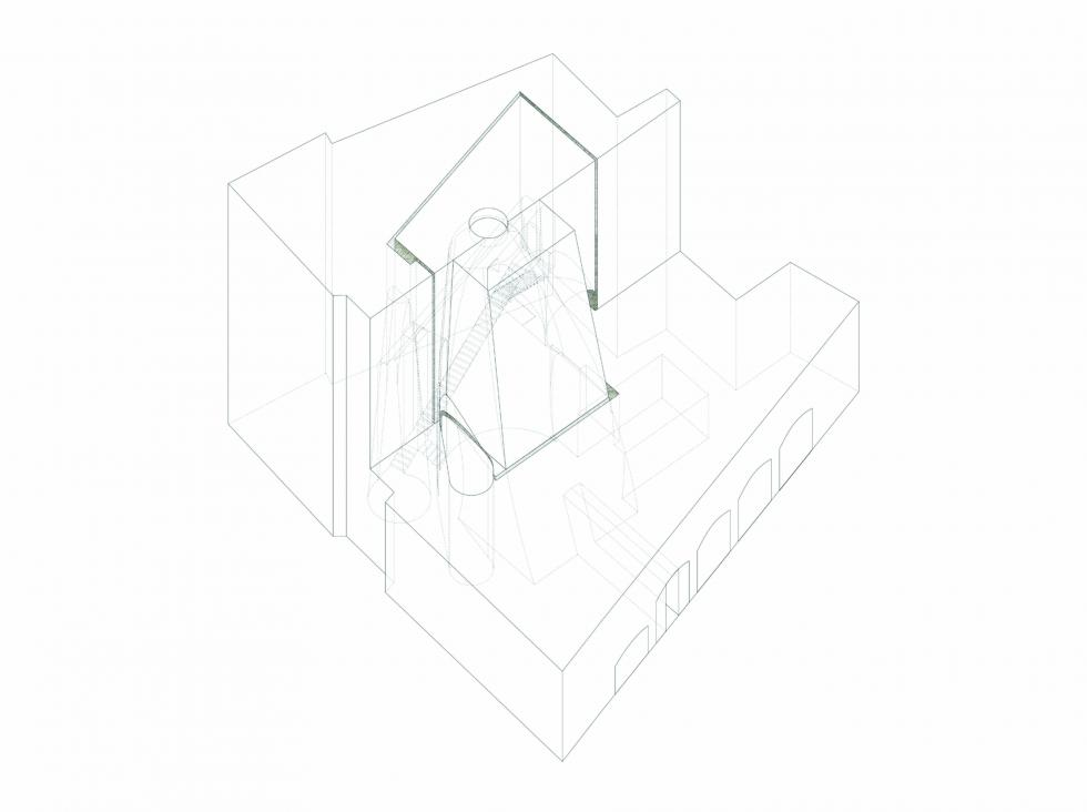 Linear cubed perspective drawing.