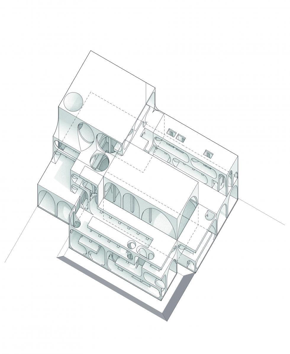 Axonometric of building showing the design with vaults and round shapes.
