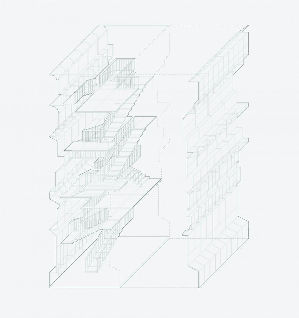 Axonometric of both side of the facade with staircase.