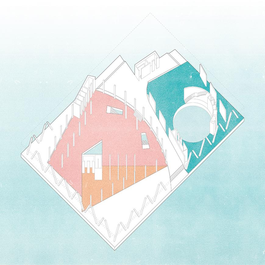 Axonometric of geometric shapes in pastel colors.